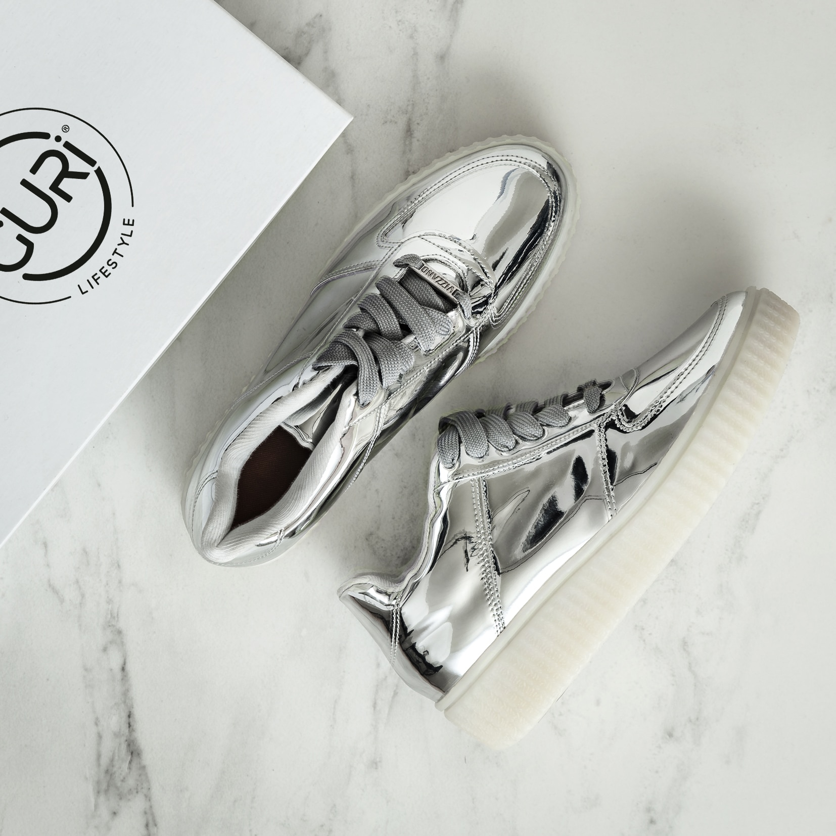 Alternative image of the space grey shoes for women.