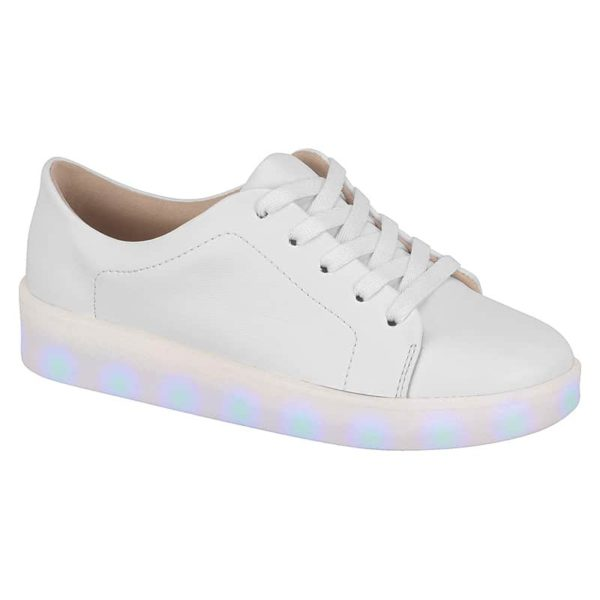 White Shoes for girls - Molekinha - Lights on