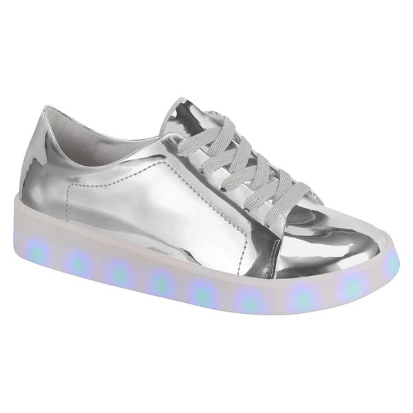 Silver Shoes for girls - Molekinha - Lights on